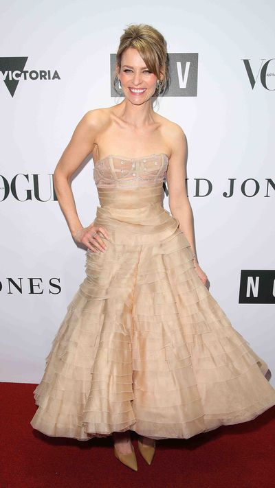 <em>Offspring</em>'s Kat Stewart in J'Aton Couture