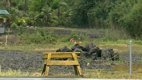 People are also leaving gifts for the volcano goddess Pele, including flowers. (9NEWS)