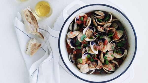 Clams with cider and chorizo