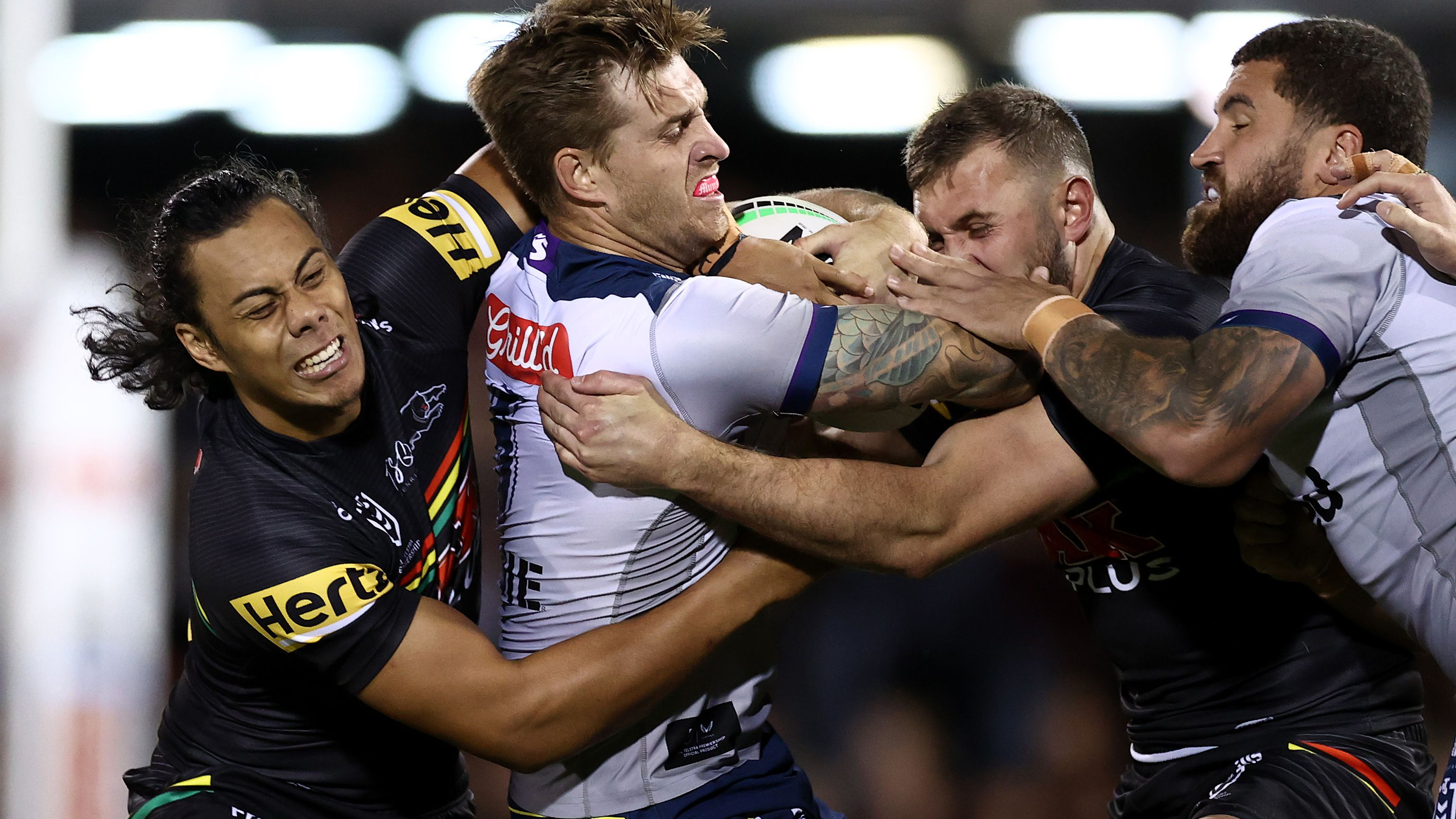 The Penrith Panthers and the Melbourne Storm clash earlier in the season.