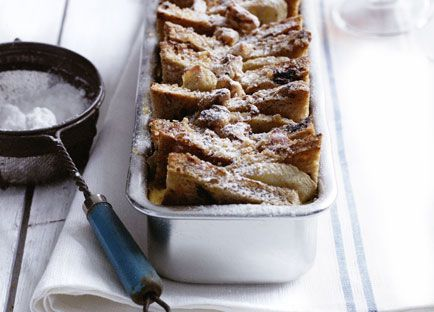 Maple, banana and walnut bread pudding