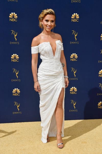 Actress Scarlett Johansson in Balmain at the 70th Annual Emmy Awards