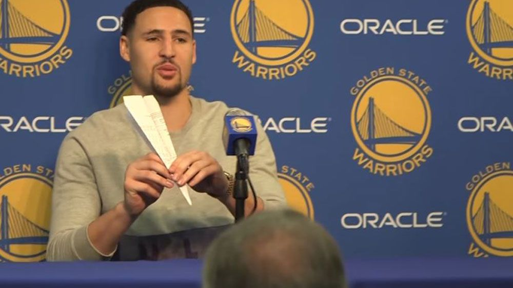 Golde State Warriors star Klay Thompson show his mastery of paper planes