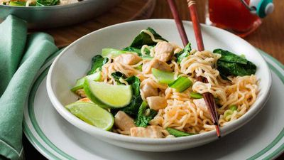 """<a href=""""http://kitchen.nine.com.au/2017/04/04/16/23/sweet-chilli-chicken-noodles"""" target=""""_top"""">Sweet chilli chicken noodles</a><br /> <br /> <a href=""""http://kitchen.nine.com.au/2016/11/29/11/52/15-minute-meals-for-speedy-weekday-dinners"""" target=""""_top"""">More 15-minute meals</a>"""