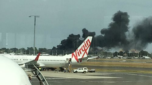 Two buses have caught fire near Sydney Airport. (Hayley Gray/Supplied)