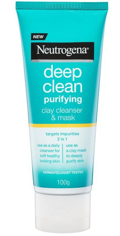 "<p><a href=""https://www.chemistwarehouse.com.au/buy/86454/Neutrogena-Deep-Clean-Purifying-Clay-Mask-100g"" target=""_blank"" title=""Neutrogena Deep Clean Purifying Mask 100G, $10.49"" draggable=""false"">Neutrogena Deep Clean Purifying Mask 100G, $10.49</a></p> <p>A daily cleanser that also acts as a mask if you leave it on for 5 minutes.&nbsp; Win-Win.</p>"