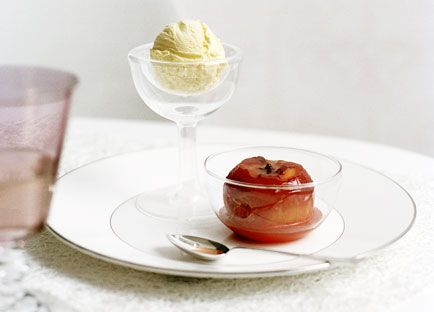 Roast peaches with Hoegaarden ice-cream