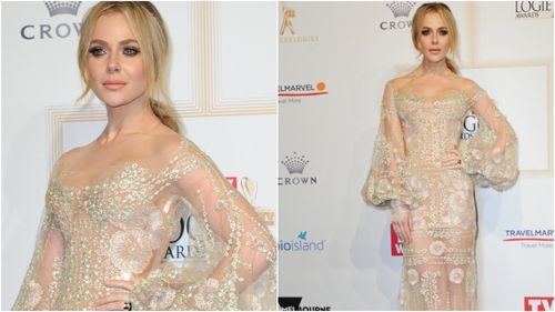 Love Child star Jessica Marais shone in a Victorian-inspired J'Aton Couture confection. (AAP)