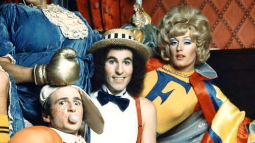 """Australian comedians (from left) Grahame Bond, Gary McDonald, Sandy Macgregor and Rory O'Donoghue as Aunty Jack, Kid Eager, Thin Arthur and Flange Desire in a scene of """"The Aunty Jack Show"""". (AAP)"""