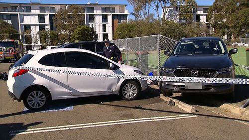 A woman drove her car into the fence of a south Sydney netball court, injuring two pedestrians. Image: 9News