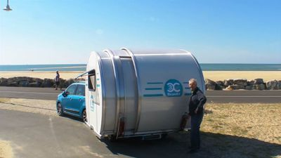 This sleek camper expands to three times its size in 20 seconds