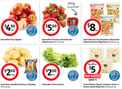 Apples, strawberries and washed potatoes are all on sale this week.