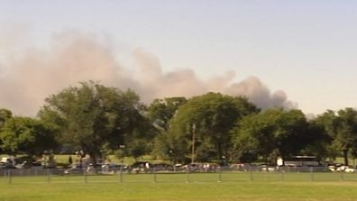 Smoke from the explosion at the Pentagon when a hijacked passenger jet slammed into the US defence headquarters.