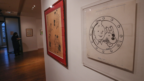 The Tintin panel is displayed at the Artcurial auction house in Paris, Wednesday, Jan. 13, 2021. (AP Photo/Michel Euler)