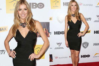 Model and TV presenter Laura Csortan sparkled in Swarovski jewels as she schmoozed.