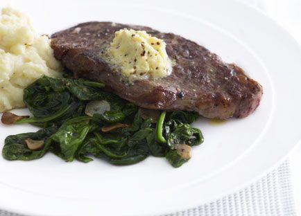 New York steak with garlic-wilted spinach