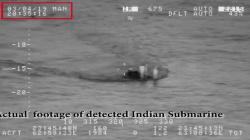A handout video grab made from a video taken on March 4 and made available by the Pakistan Navy shows what the Pakistani military claim is an Indian submarine approaching its territorial waters.