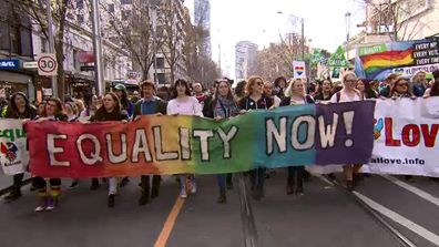 Thousands marched in Melbourne for marriage equality. (9NEWS)