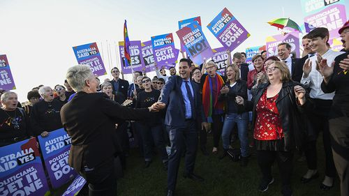Same-sex marriage campaigner Alex Greenwich and Magda Szubanski dance outside Parliament House. (AAP)