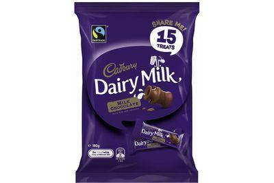 Cadbury Dairy Milk fun-size bar: A bit more than 1.5 teaspoons of sugar