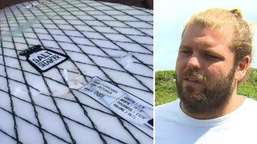Surfer Tom van Beem said the shark left teeth marks in the woman's board. (9NEWS)