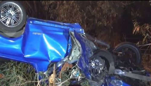 The man's vehicle collided with a tree on Pomonal Road. Image: 9News
