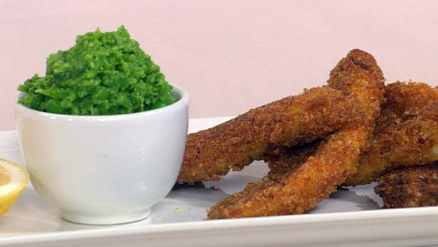 Chilli crumbed whiting with mushy peas