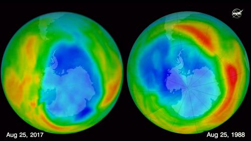 NASA said warm air has helped the hole reach its smallest measurement since 1988. (NASA)