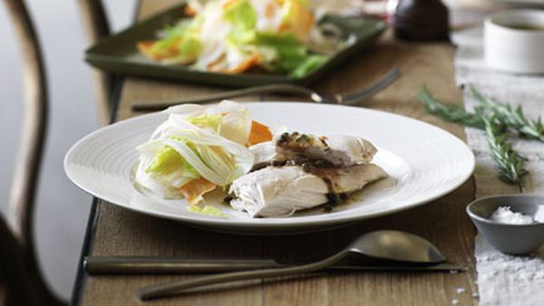 Poached chicken with rosemary and anchovy sauce