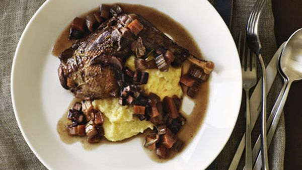 Red wine-braised pheasant with polenta