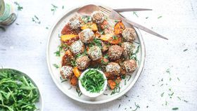 Moroccan style meatless meatballs with spiced roasted pumpkin