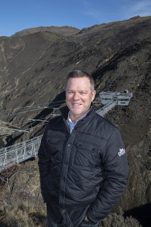 Henry van Asch, co-founder and managing director of AJ Hackett Bungy New Zealand, stands by the massive Nevis Catapult, in Queenstown, New Zealand.