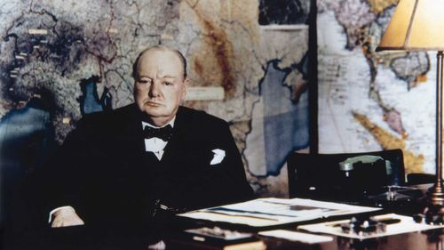 Winston Churchill in his map room in 1945. (AAP)