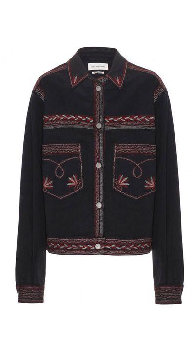 "<a href=""http://www.mytheresa.com/en-au/abril-embroidered-denim-jacket-417883.html"" target=""_blank"">Abril Embroidered Denim Jacket, $515, Isabel Marant Étoile</a>"