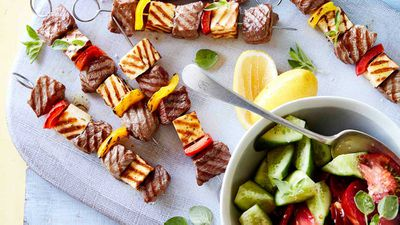 "Recipe: <a href=""http://kitchen.nine.com.au/2017/05/24/10/27/lamb-and-haloumi-skewers-with-cucumber-salad"" target=""_top"">Lamb and haloumi skewers with cucumber salad</a>"