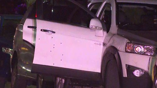 The man's Holden Captiva was hit with several bullets.