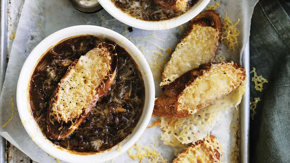 Will and Steve's French onion soup with Gruyere croutons