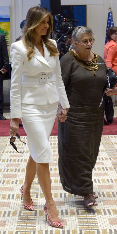 Melania Trump in Israel wearing Michael Kors.