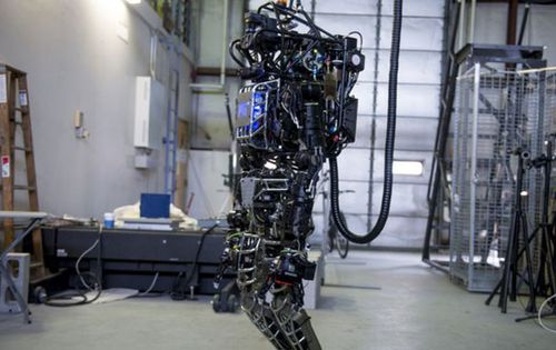 The capabilities of the Boston Dynamics funded Atlas robot are demonstrated during the Massachusetts Institute of Technology's Computer Science and Artificial Intelligence Laboratory's Demo Day in 2013. (Getty)
