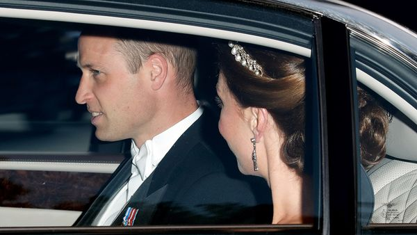 The Duke and Duchess of Cambridge arrive for a banquet for Donald Trump's State Visit.