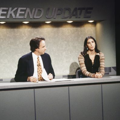 Kevin Nealon, Sarah Silverman during a Saturday Night Live skit in 1993.