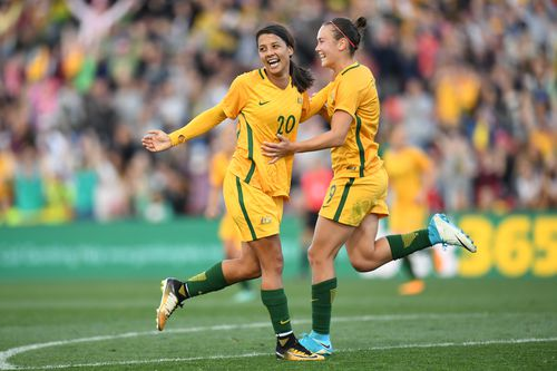The national team call-up means she could play alongside fan favourite and Australian superstar striker Sam Kerr. Picture: AAP.