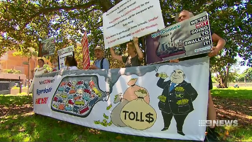 Protestors voicing their disdain over the Westconnex project have been brushed off by Liberal members.