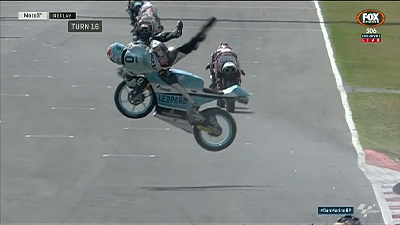 Horror crash at Moto3 practice session