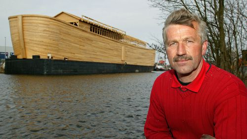 Johan Huibers, builder of the Ark, sits near his 70-metre-long  replica constructed of steel and American cedar in 2005.
