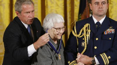 In 2007 former US President George W. Bush presented Lee with the Presidential Medal of Freedom for her contribution to literature. (AAP)<br /><br />