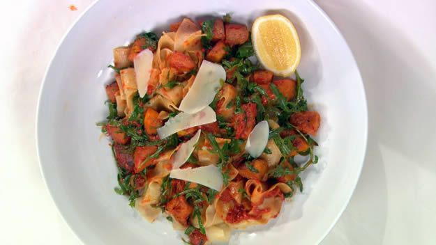Tagliatelle with pan-fried pumpkin and red pepper oil