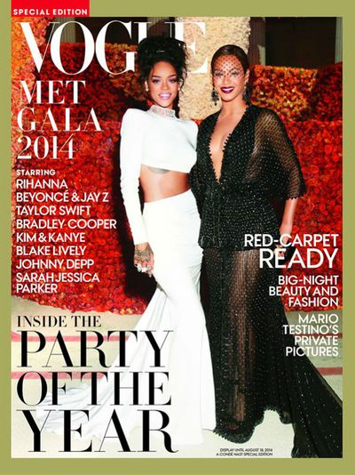 Beyoncé and Rihanna on the cover of <em>US Vogue</em> Met Gala 2014 special edition issue