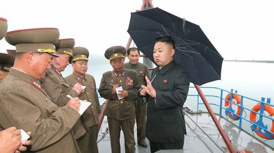 Kim Jong-Un inspecting the Fishery Station under the Korean People's Army (Getty).