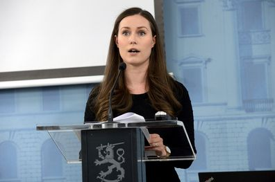 Prime Minister Sanna Marin gives a coronavirus press conference in Finland on March 17.